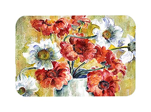 Caroline 's Treasures花by Fiona Goldbacherガラスカッティングボード、L、マルチカラー B01BO0EVCW