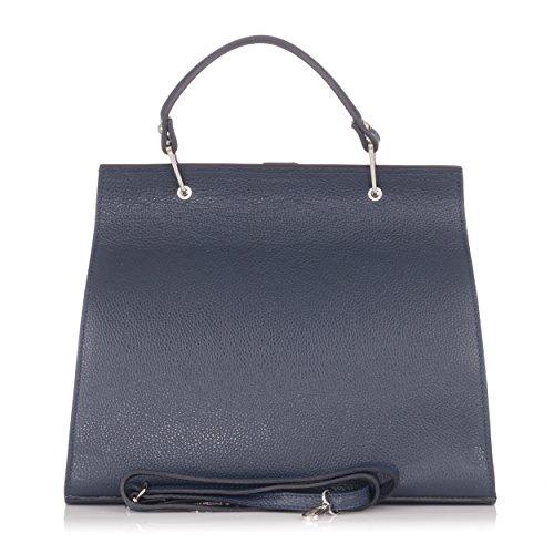 métallique à en Sac Laura cuir Bleu Moretti et main lisse IO8qxEw