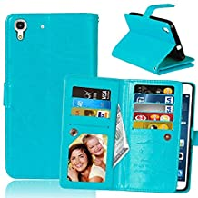 Huawei Y6 Case, Ngift Y6 Case [Wallet Function] PU Leather Folio Leather Stand Shell Flip Case Cover with 9 Cards Wallet for Huawei Y6/Honor 4A [Blue]