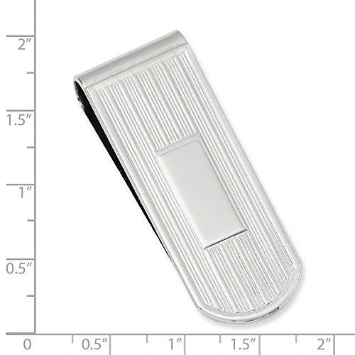 Lines plated Money Waters Rhodium Rhodium plated Etched Kelly Clip POzaCq