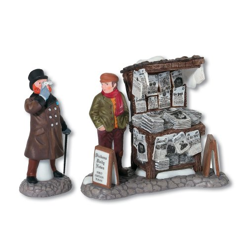 Department 56 Dickens Village London Newspaper Stand Accessory Figurine Set of 2