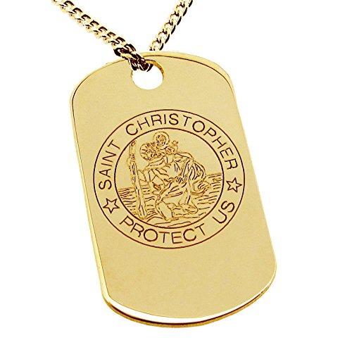 Pendentif Médaille pour Chien gravée Grand St Christophe en or jaune massif 9ct dans une boîte cadeau