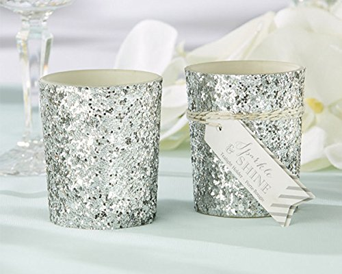 Glitter Votive Tealight Holders (48, Silver)