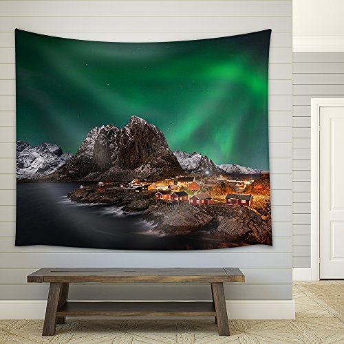 Beautiful Aurora over Hamnoy in the Lofoten Islands Norway Fabric Wall