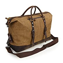 Zicac Men's Big Holdall Canvas Bag Crazy Horse Leather Waterproof Washed Oily Waxy Canvas Travel Handbag Cross Body Bag Messenger Bag