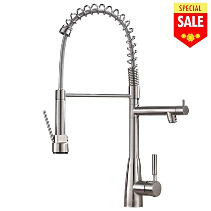 VESLA HOME Commercial Lead Free Modern Stainless Steel Single Handle Pull  Down Sprayer Spring Brushed Nickel Kitchen Faucet, Kitchen Sink Faucet