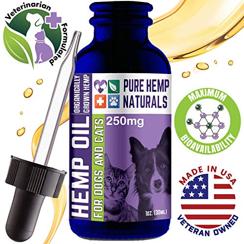 (Full Spectrum Hemp Oil For Dogs and Cats - Anxiety And Joint Pain Relief For Pets - Veterinarian Formulated - Premium Extract - Maximum Bioavailability - Omega 3, 6 & 9 - USA Made - Veteran Owned Co.)