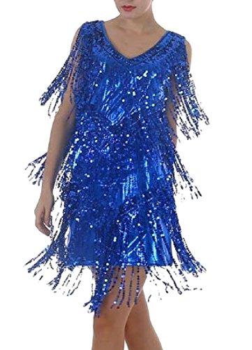 Dresses Tassel Dresses Women Light Sequin V Glitter Coolred Blue Neck Evening wIqwYF