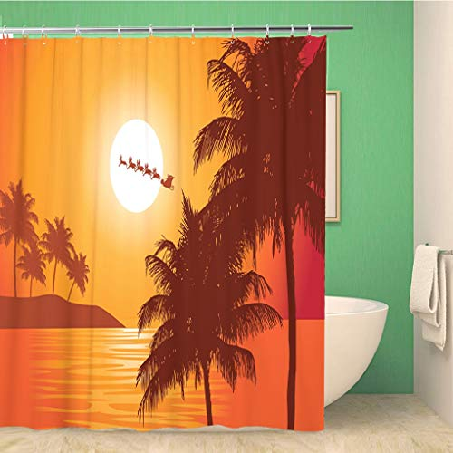 Awowee Bathroom Shower Curtain Santa Ride Claus Rides Past The Full Moon Over 72x78 inches Waterproof Bath Curtain Set with Hooks (Difference Between St Nick And Santa Claus)