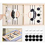 Toydaze Sling Foosball Fast Sling Puck Game with Extra 10 Pucks & 2 Slingshots for Spare Use, Portable Slingpuck Board Game for Child, Foosball Slingshot Game Board, Available in Large & Small Sizes