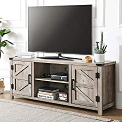 Farmhouse Living Room Furniture FITUEYES Farmhouse Barn Door Wood TV Stands for 65 inch Flat Screen, Media Console Storage Cabinet, Rustic Gray Wash… farmhouse tv stands