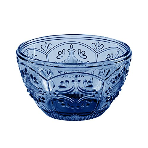 Fitz and Floyd 83-009 Trestle Collection Glass Bowl, 5-Inch Diameter, Dark Blue ()
