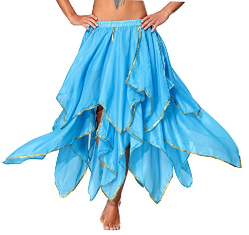 (Belly Dance Skirt Costume for Women Genie Skirt Side Slit Bellydancer)