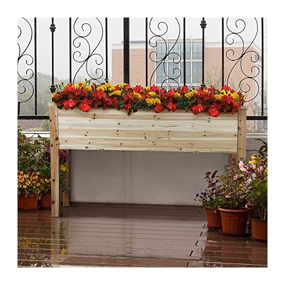 YAHEETECH Wooden Raised/Elevated Garden Bed Planter Box Kit for Vegetable/Flower/Herb Outdoor Gardening Natural Wood, 49 x 23.2 x 30.1in 7 Natural solid wood: This natural raised garden bed is made of non-paint, harmless 100% solid wood, which is known for its strength and dimensional stability as well as its natural resistance with a pleasing wooden smell. It is normal that there are wood knots on the surface. That's a natural phenomenon when the wood is growing. Single piece of side plate: Comparing to other planting beds that have several small pieces of wooden plates at the side, our planting raised bed has a piece of complete side plate at each side of the garden bed. This single-piece design makes the whole structure very stable, and the installation very easy. The side plates are fixed firmly without leakage of soil. Backache-friendly design: Given its 76.5cm/30.1'' height, people with backache/knee pain can easily manage the plants without bending down and taking the risk of pain. The thick solid wood boards are sanded well to prevent any undesired injury caused by wood splinters.