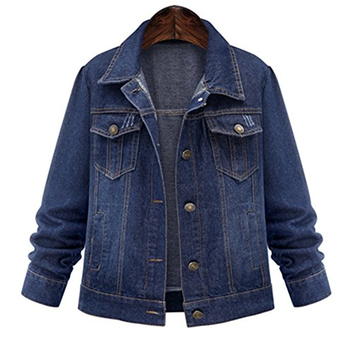 IQMFS CA Spring Autumn Denim Jacket Women fashion Washed Short Jeans Jacket Blue 4XL (2)