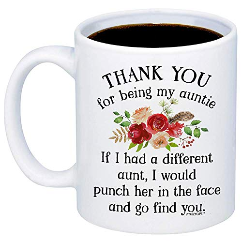 MyCozyCups Aunt Gifts - Thank You For Being My Aunt Coffee Mug - Funny Unique Gift Idea 11oz Cup For Your Best Effin Auntie From a Niece or Nephew - Birthday, Christmas, Mothers Day Gift For Her