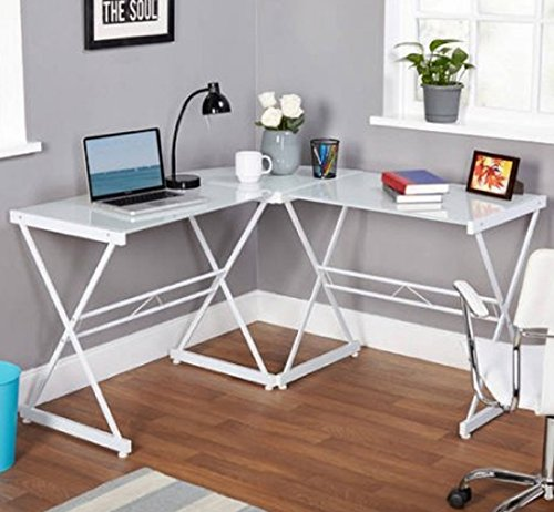 Home Office Metal and Glass L-shaped Computer Desk PC Workstation White Table ()