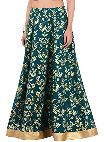 Indya Teal Foil Gold Border Silk Maxi Skirt L