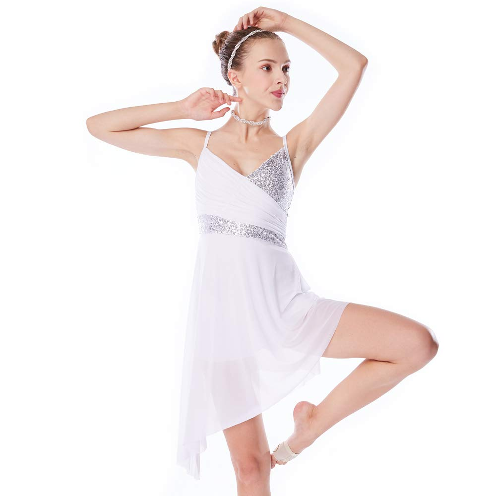 White PA MiDee Dance Costume Lyrical Dress V-Neck High-Low Sequins Dresses