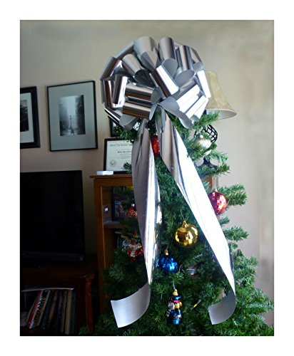 Big Metallic Silver Chrome Bow Large Gift Bike Car Christmas Party Decoration from Unknown