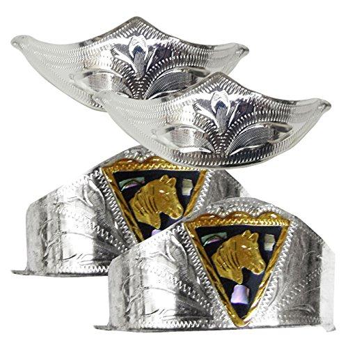 Modestone 4 Pcs Nickel Silver Boot Caps: 2 x Horse Heel + 2 x Filigree Toe - Cowboy Boot Toe Caps