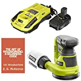 Ryobi P411 18-Volt ONE+ 5 inch Cordless Random Orbit Sander Bundle with Charger, Battery and Woodworking Book
