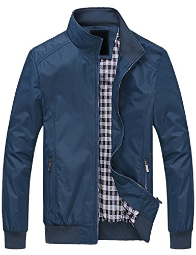 - Springrain Men's Casual Stand Collar Slim Bomber Jacket (Medium, Blue2)