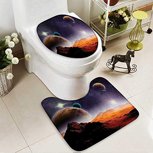 Muyindo Toilet carpet floor mat Earth and Cosmos Solar Sky Nebula Orbit ComHoriz 2 Piece Shower Mat set by Muyindo