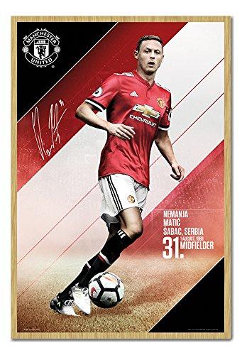 Manchester United Matic 2017 2018 Season Poster Kork Pinnwand Buchenholz-Rahmen, 96,5 x 66 cm (ca. 96,5 x 66 cm)