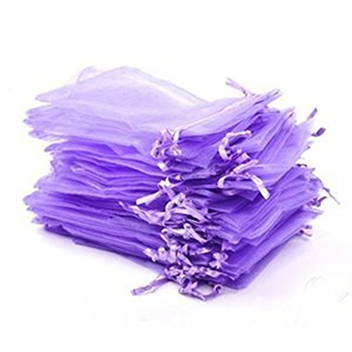 Organza Wraps - Pack of 50 Light Purple Organza Drawstring Pouches Wedding Party Favors Wrap Bags (2.95x3.43