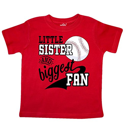 inktastic - Little Sister and Biggest Fan- Baseball Toddler T-Shirt 2T Red 2a7dd