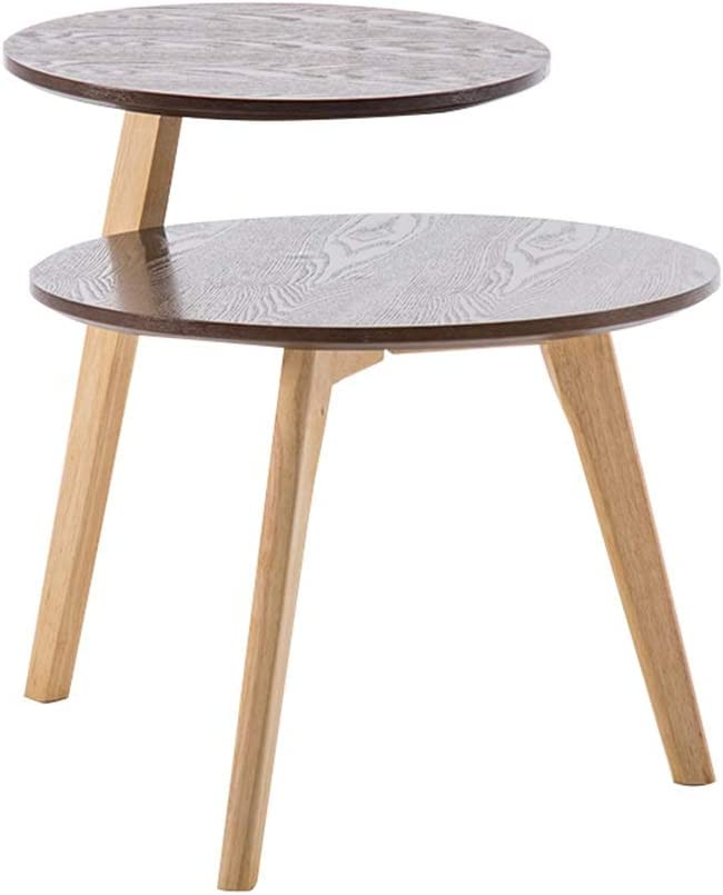 2020 Nieuw Multikleine salontafel dubbele open opslag kleine ronde tafel voor woonkamer mini sofa bijzettafel voor balkon slaapkamer Walnut Color nYDjqm0