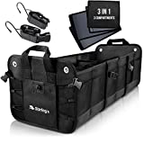 Car Trunk Organizer by Starling's:Eco-Friendly Premium Cargo Storage Container, for SUV, Truck, Auto, Vehicle. Heavy Duty Construction (3 Compartments, Black)