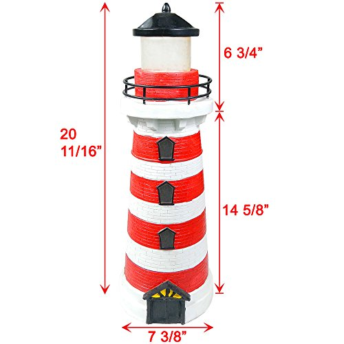 iGlow Outdoor Red Solar Lighthouse with 2 Amber LED Landscape Light Path Lamp Deck Patio Driveway Garden Decoration