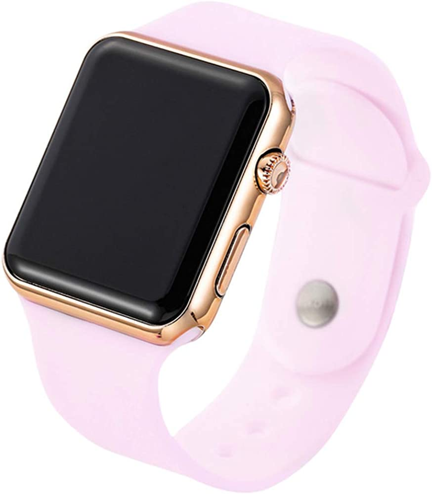 RRWL Reloj LED Deportivo y de Ocio para Mujer Reloj Digital Unisex Reloj de Pulsera de Silicona para Parejas Regalosnavideños Oro Rosa Rosa