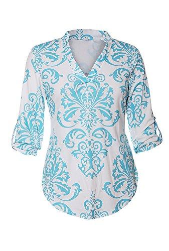 Sleeve Split Neck Tunic (Dokotoo Womens Casual Fashion 2017 Summer Split Neck Print 3 4 Sleeve Tunic Blouses Tops Blue Medium)