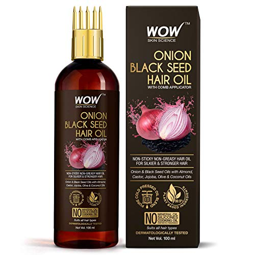 WOW Skin Science Onion Black Seed Hair Oil – WITH COMB APPLICATOR – Controls Hair Fall – NO Mineral Oil, Silicones…