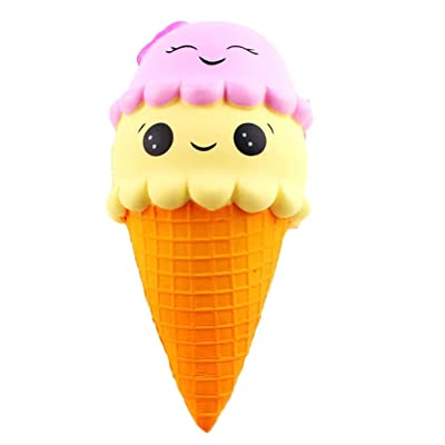 kingfansion Slow Rising Scented Squishies Jumbo Prime Stress Relief Toy Kid Toy Hand Toy, Ice Cream Cone Squishies Slow Rising Kawaii Cake Decompression Toys Key Chain Decoration: Toys & Games