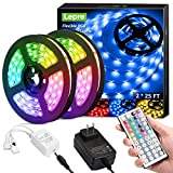 Lepro LED Strip Lights Kit, 50ft Ultra-Long RGB LED Light Strips, Dimmable Color Changing Light Strip with Remote Control, 450 Leds 12V Led Tape Light for Kitchen, Bedroom and More, Non-Waterproof (25ft*2)