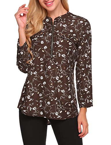 ANGVNS Women Long/Short Sleeve Print Loose Chiffon Blouse, Dark Brown, - Prints Brown
