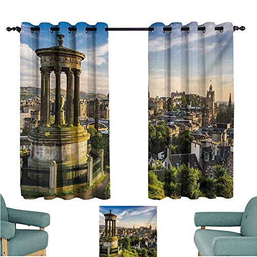 DONEECKL Decor Curtains Cityscape Edinburgh Town Aerial View of Historical Buildings Heritage Panorama Art Tie Up Window Drapes Living Room W55 xL72 Fern Green Blue -