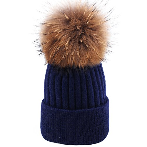 Angora Scarf - Womens Winter Pom Pom Hat - Super Soft Angora Wool Knit Beanie Fur Ball Hats For Women Girls FURTALK Original (Navy Blue)