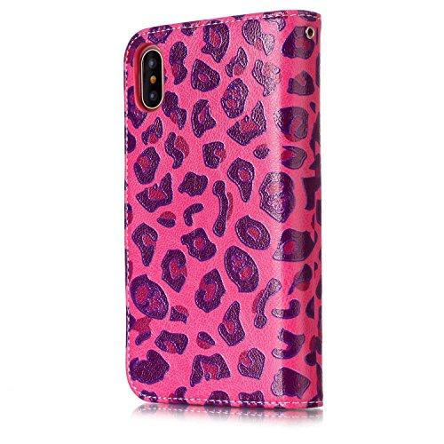 Funzione 8 Iphonex Di Supporto Rose 5 Per Inch Design 5 Case Inshang Cover Custodia X Leopard Portafoglio Integrato Iphone Red Con 8inch XTaPq