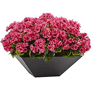 Meyda Tiffany Geranium with Black Planter UV Resistant (Indoor/Outdoor)