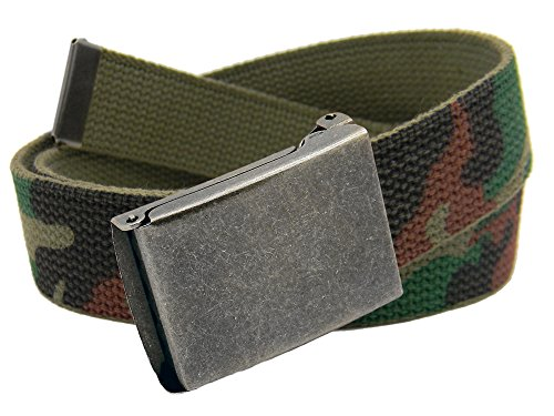 Belts Accessories 8 Kids (Boys School Uniform Distressed Silver Flip Top Military Belt Buckle with Canvas Web Belt Medium Army Camo)