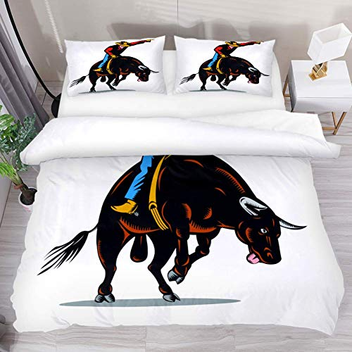 Duvet Cover Set Cowboy Cow Vintage Comforter Bedding Sets Soft 3 Piece Twin Size with 2 Pillow Shams for Teens Kids Boys Girls