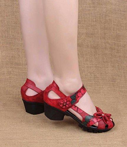 Zapatos De Tacon Boca De Pescado Thirty National Wind GTVERNH Otoño Rojo nine Sandalias Elegancia Grueso Mujer Roma Primavera Tacon Zapatos Cuarenta Y De Retro Medio De Bohemia Rqw7a
