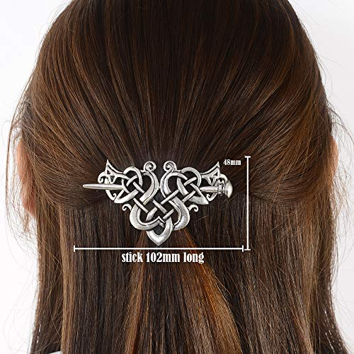 Viking Celtic Hair Clips Hairpin-Viking Hair Sticks Ladies Hair Accessories Triangle Clips for Long Hair Slide Pin Irish Antique Silver Hairstick Celtic Knot Viking Jewelry Hair Clip Men Gift -
