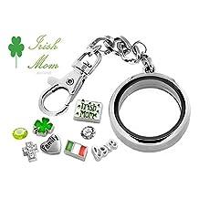 IRISH MOM Floating Glass Locket DETACHABLE Key Chain Pendant Set w/ IRELAND Charms & Gift Box