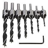 7pcs 3mm-10mm HSS 5 Flute Countersink Drill Bit Set Carpentry Reamer Woodworking Chamfer End Milling